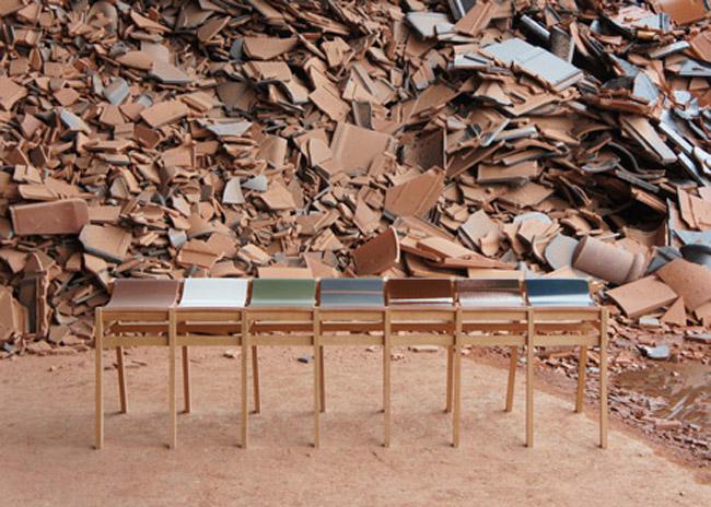 Kawara bench di tsuyoshi hayashi sgabelli in ceramica