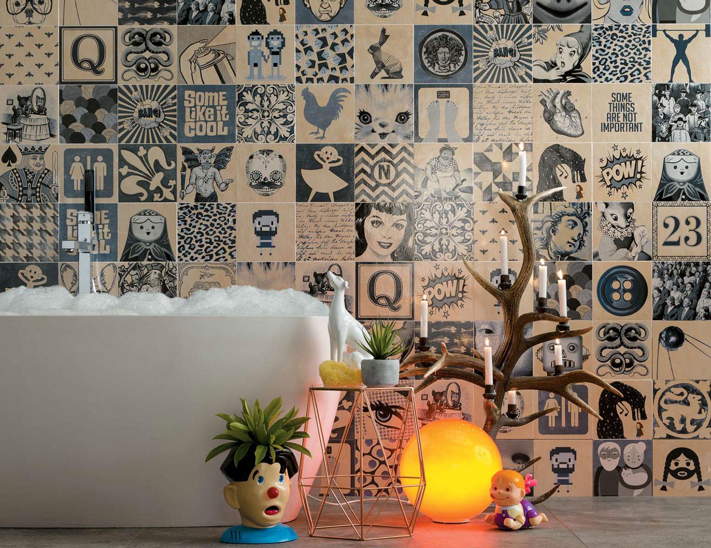 Piastrelle effetto maiolica per bagno in gres porcellanato
