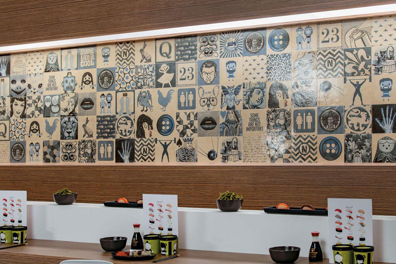 Piastrelle effetto carta da parati per ristoranti in gres porcellanato