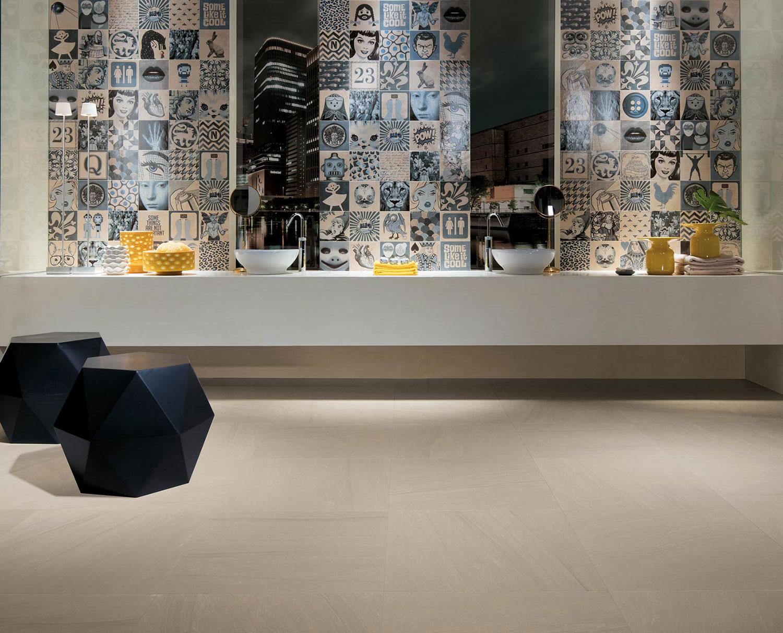 Piastrelle effetto maiolica per toilette in gres porcellanato