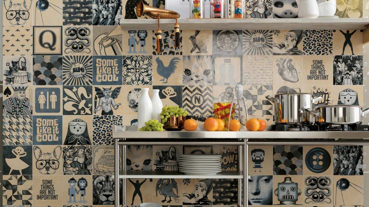 Indigo azulejos piastrelle bianche e blu in stile moderno e