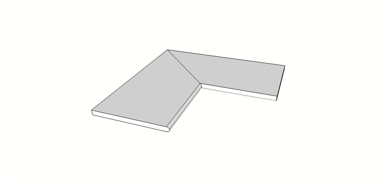 """Angolo interno completo (2pz)bordo arrotondato <span style=""""white-space:nowrap;"""">30x60 cm</span>  <span style=""""white-space:nowrap;"""">sp. 20mm</span>"""