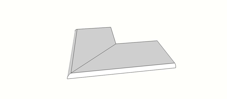 """Angolo esterno completo (2pz) bordo becco di civetta <span style=""""white-space:nowrap;"""">30x60 cm</span>  <span style=""""white-space:nowrap;"""">sp. 20mm</span>"""