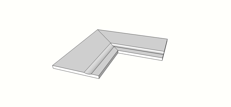 """Angolo interno completo (2pz) bordo rettilineo svasato <span style=""""white-space:nowrap;"""">30x60 cm</span>  <span style=""""white-space:nowrap;"""">sp. 20mm</span>"""