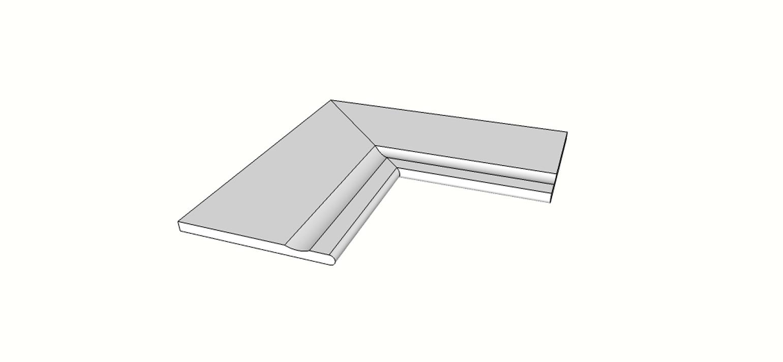 """Angolo interno completo (2pz) bordo arrotondato svasato <span style=""""white-space:nowrap;"""">30x60 cm</span>  <span style=""""white-space:nowrap;"""">sp. 20mm</span>"""