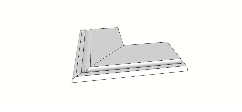 """Angolo esterno completo (2pz) bordo becco di civetta svasato <span style=""""white-space:nowrap;"""">30x60 cm</span>  <span style=""""white-space:nowrap;"""">sp. 20mm</span>"""