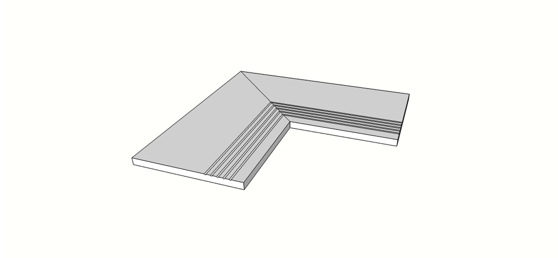 """Angolo interno completo (2pz) bordo dritto con antisdrucciolo <span style=""""white-space:nowrap;"""">30x60 cm</span>  <span style=""""white-space:nowrap;"""">sp. 20mm</span>"""