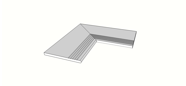 """Angolo interno completo (2pz) bordo arrotondato con antisdrucciolo <span style=""""white-space:nowrap;"""">30x60 cm</span>  <span style=""""white-space:nowrap;"""">sp. 20mm</span>"""