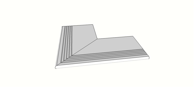 """Angolo esterno completo (2pz) bordo arrotondato con antisdrucciolo <span style=""""white-space:nowrap;"""">30x60 cm</span>  <span style=""""white-space:nowrap;"""">sp. 20mm</span>"""