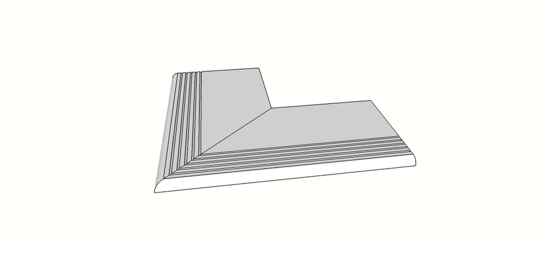 """Angolo esterno completo (2pz) bordo becco di civetta con antisdrucciolo <span style=""""white-space:nowrap;"""">30x60 cm</span>  <span style=""""white-space:nowrap;"""">sp. 20mm</span>"""