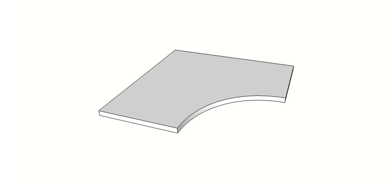 """Angolo curvilineo bordo dritto <span style=""""white-space:nowrap;"""">60x60 cm</span>  <span style=""""white-space:nowrap;"""">sp. 20mm</span>"""