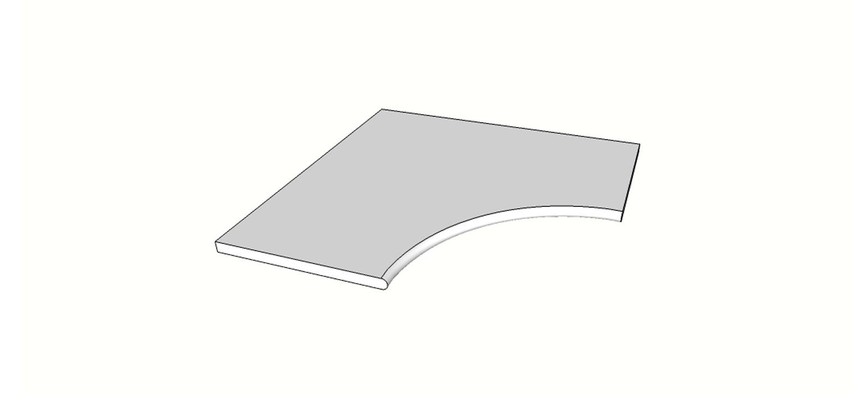 "Angolo curvilineo bordo arrotondato <span style=""white-space:nowrap;"">60x60 cm</span>  <span style=""white-space:nowrap;"">sp. 20mm</span>"
